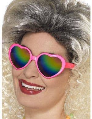 Hot Pink Mirrored Heart Shaped Costume Sunglasses
