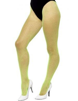 1980's Women's Neon Green Fishnet Tights