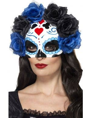 Red and burgundy women's sugar skull day of the dead smiffy masquerade costume mask