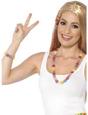 1960's Multicoloured Peace Sign Jewellery Set