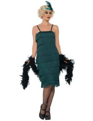 1920's Long Teal Green Flapper Women's Costume