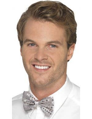 Sequined Silver Men's Satin Bow Tie Costume Accessory