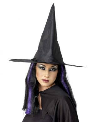 Black Satin Budget Halloween Witch Hat