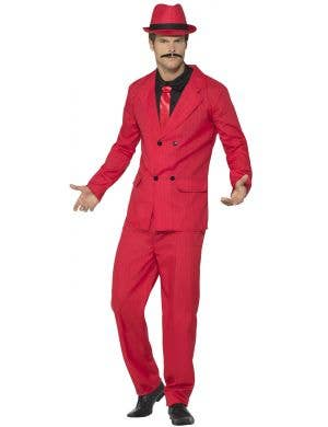 Men's Red With Black Pinstripes Zoot Suit Gangster 1920's Costume Alt View