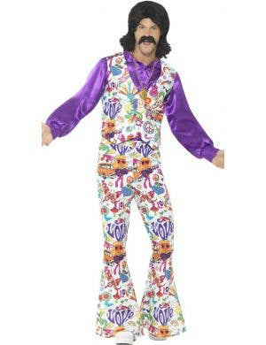 Groovy 1960's Men's Fancy Dress Hippie Costume
