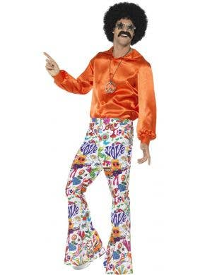 Groovy 60s Men's Flared Multi Coloured Retro Costume Pants