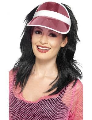 womens pink poker visor novelty costume accessory
