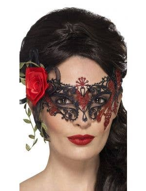 Day of the Dead Filigree Black with Roses Masquerade Mask