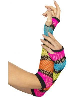 1980's Rainbow Fishnet Fingerless Gloves Costume Accessory