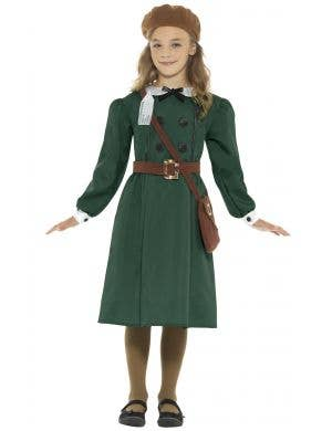 1940's WW2 Evacuee Girls Fancy Dress Costume Front View