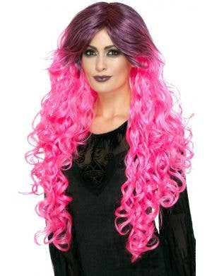 Gothic Glamour Women's Pink Ombre Halloween Wig