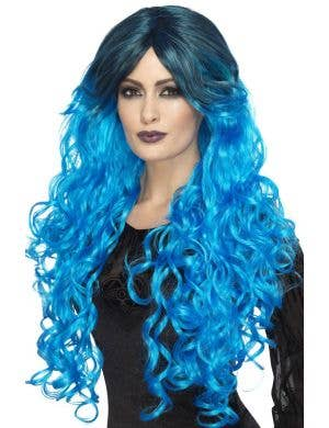 Gothic Glamour Women's Bright Blue Ombre Halloween Wig