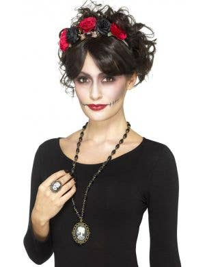 Day Of The Dead Skeleton Cameo Costume Jewellery Set