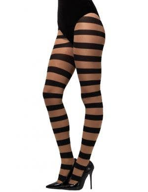 Glam Nude and Black Striped Opaque Stockings