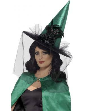 Elaborate Emerald Green Halloween Witch Hat