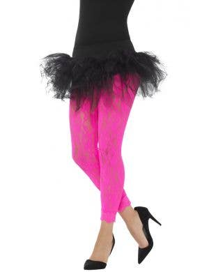 Rock Chick Women's 1980's Hot Pink Lace Footless Tight Leggings View 1