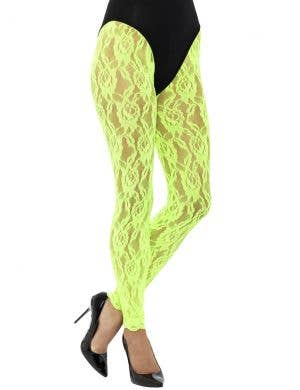 1980's Neon Green Lace Women's Costume Leggings