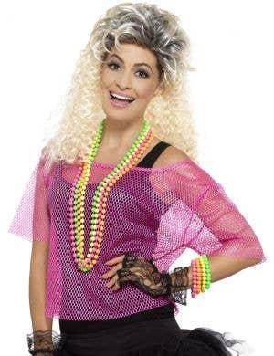 1980's Neon Pink Fishnet Women's Costume Top