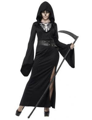 Women's Long Black Grim Reaper Halloween Costume Front View