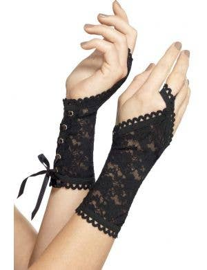 Black Lace Fingerless Gloves with Lace Up Feature