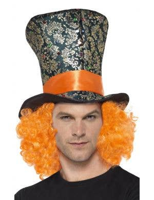 Mad Hatter Top Hat With Orange Hair