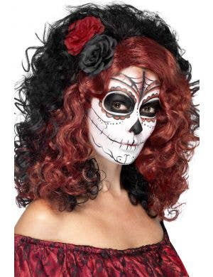 Women's Sugar Skull Curly Black and Red Wig