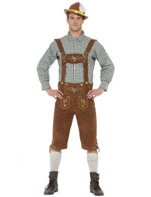 Traditional Deluxe Hanz Mens Oktoberfest Lederhosen Men's Costume Image 1