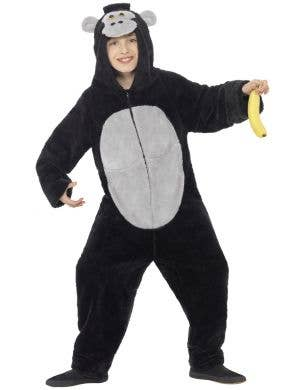 Black Gorilla Children's Party Animal Fancy Dress Costume Front iew