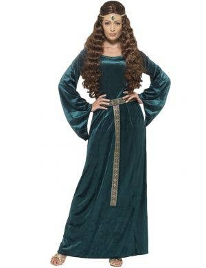 Green Medieval Dress Women's Costume Front View