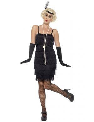 Short Black Fringed Women's Flapper 1920's Costume Front View
