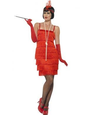 Women's Red Short Flapper Costume Front 1