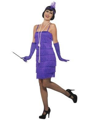 Women's Purple Fringed Flapper 1920's Roaring 20's Costume Dress