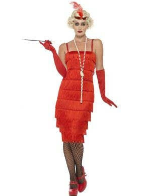 Womens Red Flapper Gatsby Costume Front View