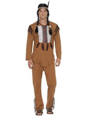 Men's Native American Inspired Indian Warrior Fancy Dress Costume Front Image