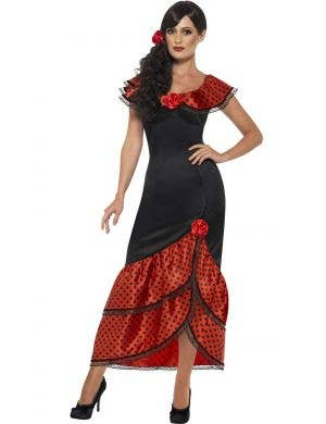 Women's Spanish Flamenco Dancer Costume Front View