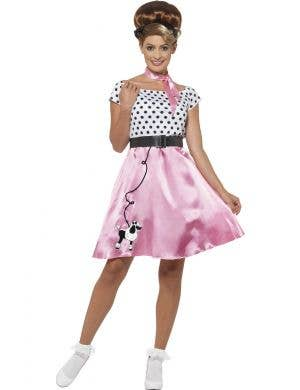 1950's Pink Poodle Dress Costume for Women Front
