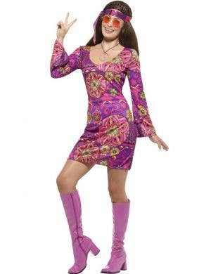 Women's Pink and Purple Hippie Costume Dress Front View