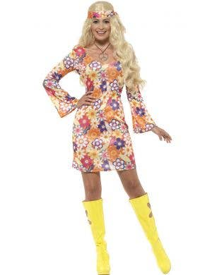 Women's Flower Hippie Fancy Dress Costume Front View