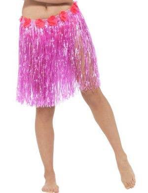 Women's Pink Hawaiian Hula Skirt with Flowers