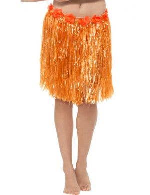 Women's Neon Orange Hawaiian Hula Skirt with Flowers