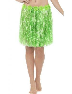 Women's Lime Green Hawaiian Hula Skirt with Flowers