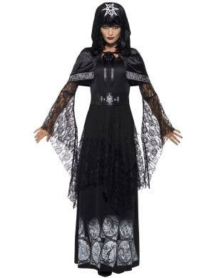 Women's Black Magic Mistress Pagan Costume Front View
