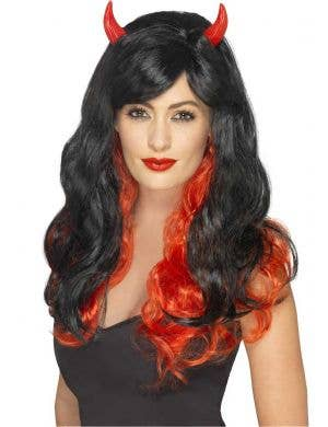Red Devil Women's Costume Wig With Horns Main Image