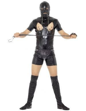Black Bondage Gimp Men's Stag Party Costume Image 1
