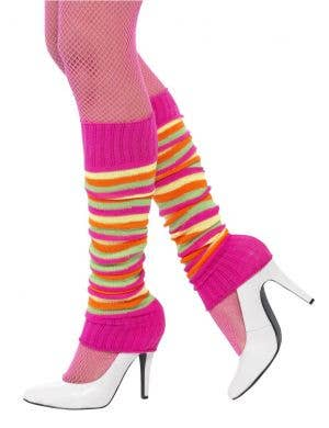 Rainbow Pink 1980's Leg Warmers Costume Accessory