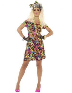 1980's Neon Party Animal Women's Fancy Dress Costume