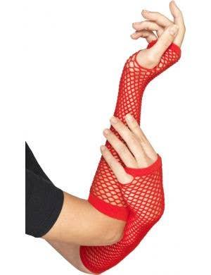 Women's Red Fingerless Fishnet 1980's Costume Arm Warmers