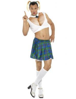 Men's Novelty Funny Sexy School Girl Fancy Dress Costume Front View
