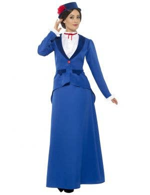 Women's Blue Victorian Nanny Mary Poppins Costume Front View