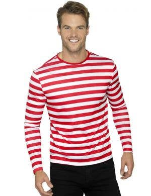 Basic Red and White Striped Adult's Costume Shirt